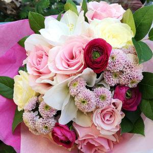Rosa pastell bukett hos Crossandras Blommor